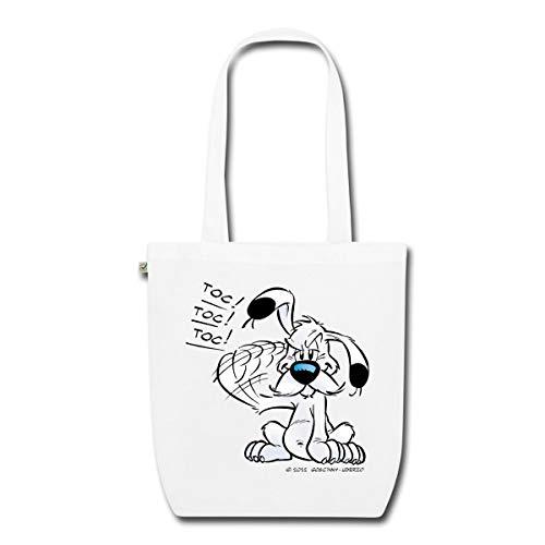 Spreadshirt Asterix & Obelix Idefix Klopft Toc Toc Toc Bio-Stoffbeutel, Weiß