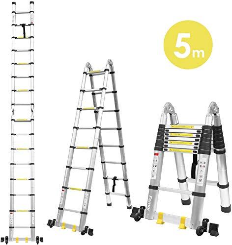 FIXKIT 5M Alu Teleskopleiter Klappleiter, ausziehbare Leiter Teleskop-Design mit 2 Rollen 150 kg Belastbarkeit