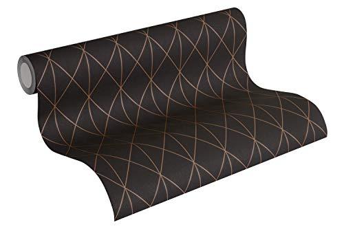 Designdschungel by Laura N. Vliestapete im skandinavischen Design matt glänzend 10,05 m x 0,53 m metallic schwarz Made in Germany 365754 36575-4