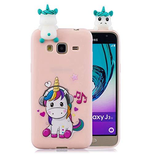 ChoosEU Compatible con Funda Samsung Galaxy J3 2016 Silicona 3D Dibujos Unicornio Carcasas TPU Case Antigolpes Bumper Cover Protección Caso Flexible Gel - Unicornio
