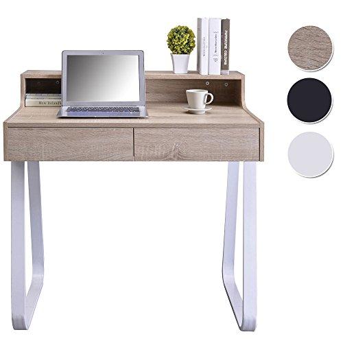 SixBros. Schreibtisch mit Schubladen, Kleiner Designer Tisch in Eiche Holzoptik, Laptoptisch, Nähmaschinentisch, 90 x 58 cm CT-3532/1243