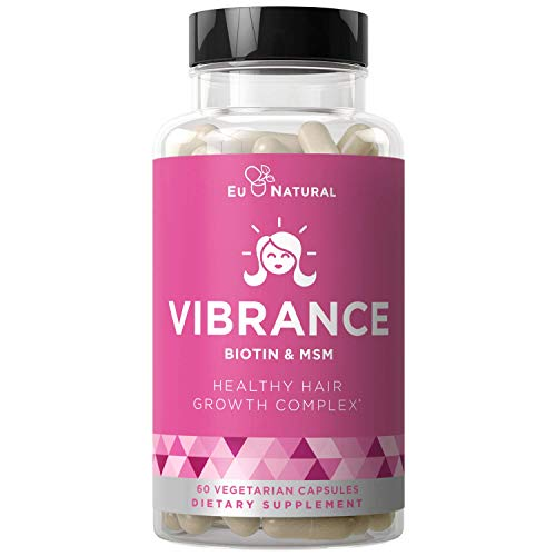 Vibrance Hair Growth Vitamins – Grow Hair Faster, Healthier & Stronger Length, Beautiful Locks for All Hair Types – Biotin & OptiMSM – 60 Vegetarian Soft Capsules