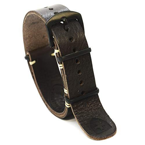 Cinturino per orologio Nato Zulu in pelle Militare oliato marrone lungo...