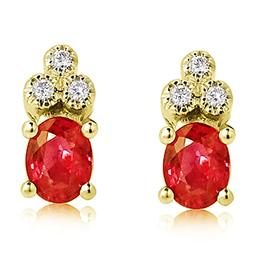 MILLE AMORI ∞ Pendientes para mujer oro con piedras peciosas y diamante ∞ oro blanco de 9 quilates 375  Diamante 0.05 quilates ∞, dorado., Ruby,
