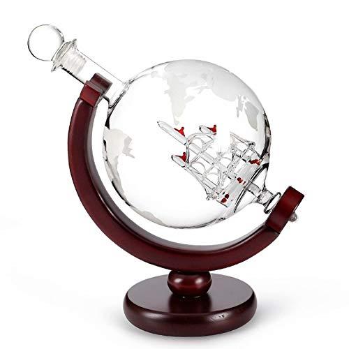 Decantador de whisky - Juego de 2 vasos de vidrio soplado a mano sin plomo de 800 ml, ideal para licor, whisky, bourbon, vodka