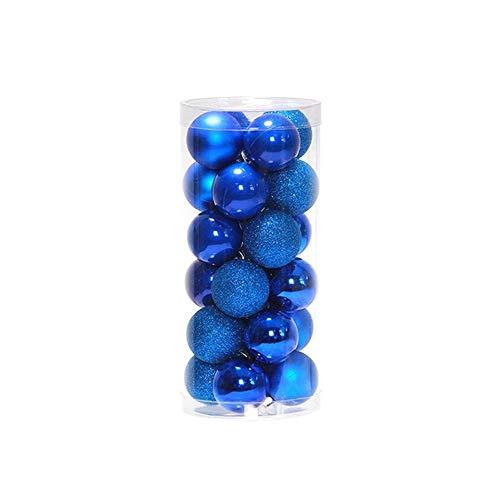 VJB Christmas Balls Suministros De Decoración Adornos De Boda Brillantes Modernos Colgantes Gadgets De Decoración Plástico 24 Piezas Fiesta Cumpleaños-Azul-6Cm