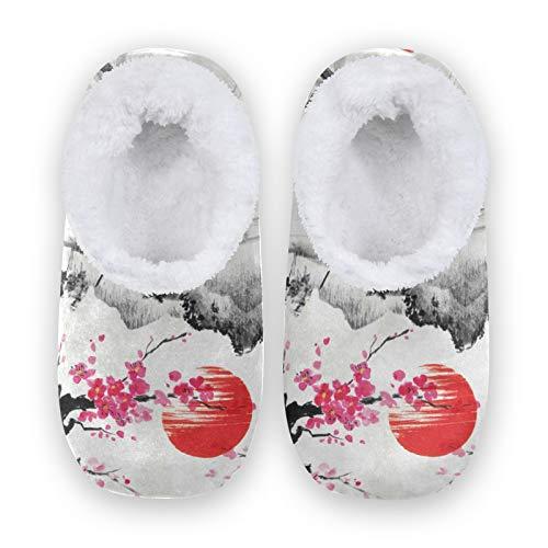 TropicalLife JNlover - Pantuflas japonesas de forro polar para mujer y hombre con parte trasera cerrada para casa, color, talla Large