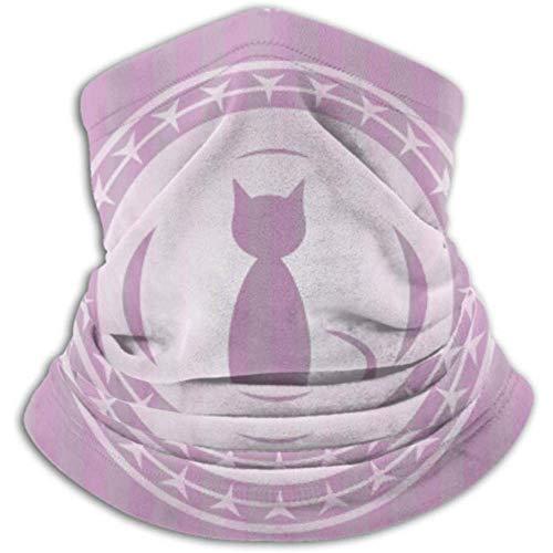 Cat Icon Inside Pink Emblem Vintage Schal, eine Vollmaske oder Hut, Halsmanschette, Halskappenmaske, Halbmaske, fa