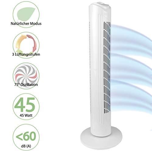 """Turmventilator 82cm\""""Weiß\"""" Extra Leise, Standventilator 45W, Ventilator - Standventilator mit Oszilation"""