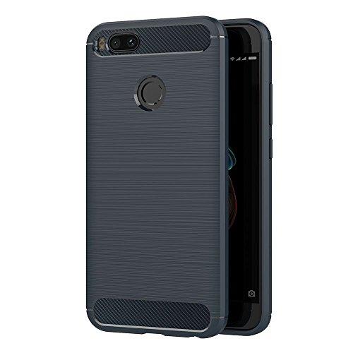 AICEK Funda Xiaomi Mi 5X / Xiaomi Mi A1, Azul Silicona Fundas para Xiaomi Mi 5X Carcasa Xiaomi 5X Fibra de Carbono Funda Case (5,5 Pulgadas)