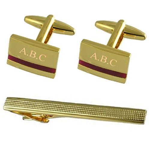 Select Gifts Boutons de manchette or améthyste violette gravée cadeau cravate avec 65mm