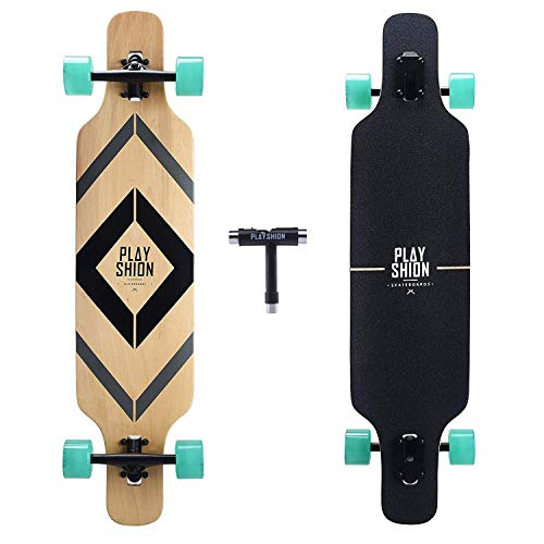 PLAYSHION Longboard 39 Zoll, mit ABEC-9 Kugellagern, Drop-Through Freeride Skateboards Cruiser