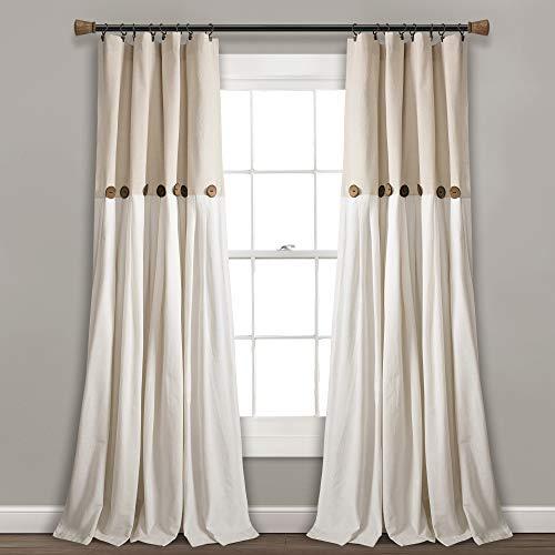 "Lush Decor Linen Button Window Curtain Single Panel, 84"" x 40"", 84""x 40"""