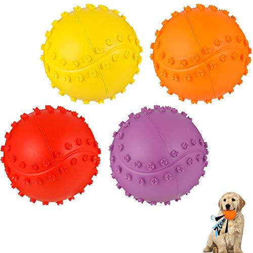 umorismo 4 Packung Hundespielzeug Squeaker Ball Hund, Langlebiges Naturkautschuk Hund Fußball, Quietschball Hund, Kauspielzeug Für Kleine & Große Hunde