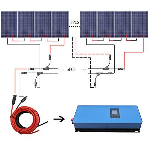 ECO-WORTHY 1920W 12V IP65 Solar-Panel-Kit: 2000W Gitter Tie Solar Power Inverter + 16PC 120W polykristallines Solar Panel + 5m Kabel mit-Stecker + 7 Paar Anschlüsse