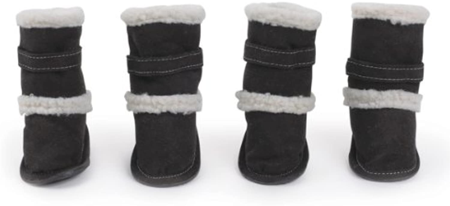 East Side Collection Polyester Classic Sherpa Dog Boot with Rubber Sole, Medium, Black