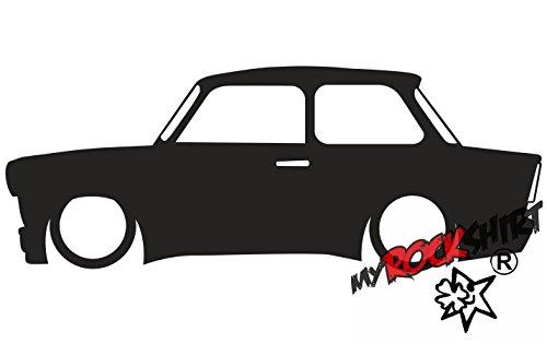 2X Aufkleber Low Trabant 601 Silhouette Outline Sticker Decal Low Lowered Tiefer Tiefergelegt `+ Bonus Testaufkleber Estrellina-Glückstern ®, gedruckte Montageanleitung von myrocks