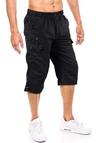 TACVASEN Herren 100% Baumwolle Casual Military Elastische Capri Cargo Kurze Hosen mit Multi Taschen, 32, Schwarz