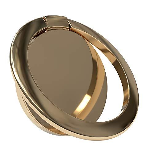 EAZY CASE Premium Smartphone Ring Fingerhalterung, 360° Drehbar, für vereinfachte Einhandbedienung, Handy Halterung, Smartphonehalter, Finger Halterung, Gold