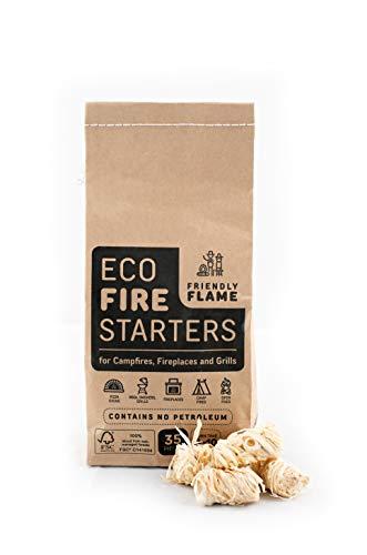Friendly Flame Eco Firestarters para chimenea, carbón, barbacoa, estufa de pellets de madera, horno de pizza, 35 piezas de madera natural y cera certificado FSC