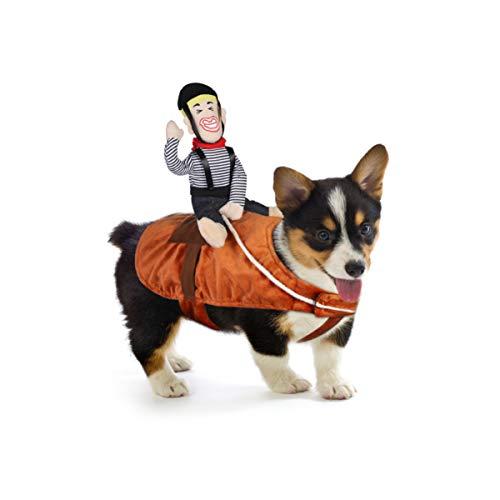 POPETPOP Hunde Kostüm Cowboy Reiter Reiten Hundekostüm Lustiges Hundetragekostüm für Kleine Große Welpen - Haustier Outfit Anzug für Halloween Weihnachten
