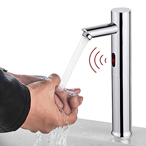 Grifos para sensores, grifo para lavamanos con sensor de infrarrojos automático para baño, grifo para lavabo sin contacto, ahorro de agua de batería de 6 V, grifo mezclador de agua fría y caliente,L