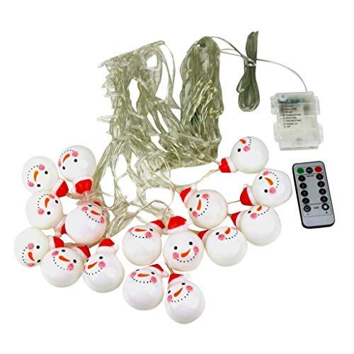 JiaMeng Weihnachtsnettes Schneemann Dekorations Vorhanglicht mit Wasserdichtem Batteriekasten des Fernsteuerungsfarbschneemanneisstreifen Lichtes
