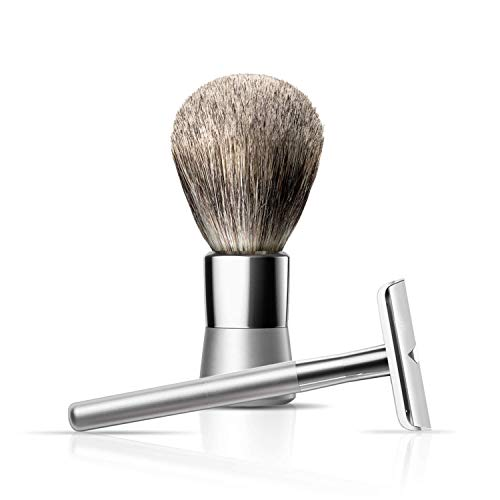 Safety Razor and Shaving Brush Bundle by Bevel - Includes Double Edge Safety Razor for Men & Vegan Hair Brush, Prevents Razor Bumps