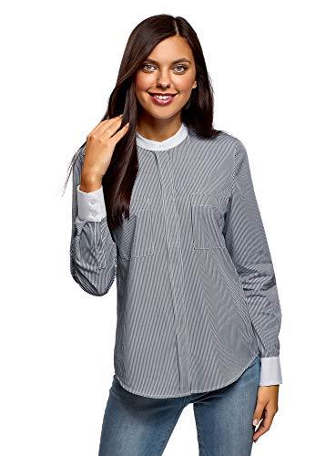 oodji Ultra Damen Baumwoll-Bluse mit Kontrastbesatz, Blau, DE 42 / EU 44 / XL