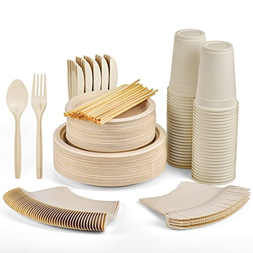 Gezond 350pcs Compostable Paper Plates Set, Eco-friendly Heavy-duty Disposable Paper Plates Cutlery Includes Biodegradable Plates, Forks, Knives, Spoons, Cups and Straws for 50 Guests (Natural Plates)