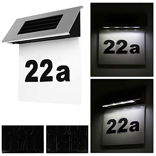 Alaskaprint Solar verlicht huisnummer verlichting huisnummerlamp met LED-lamp verlicht schemerschakelaar bewegingsmelder van roestvrij staal 19 x 18,5 x 6cm zwart