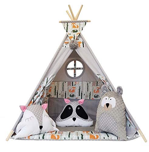 Izabell Kinder Spielzelt Teepee Tipi Set für Kinder drinnen draußen Spielzeug Zelt Indianer Indianertipi mit Fenster Tipi mit Zubehör Tipizelt