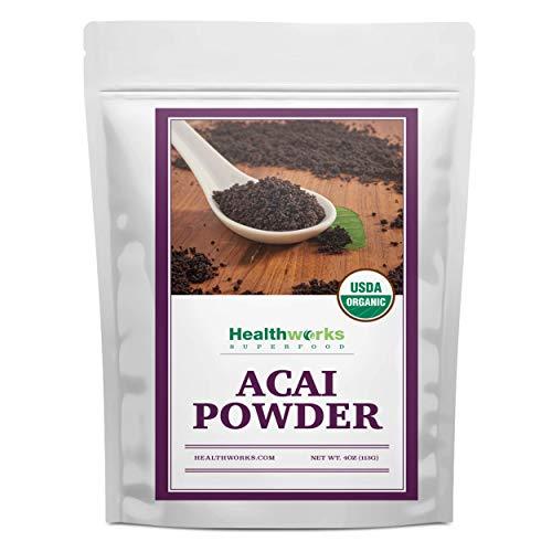 Healthworks Acai Berry Powder Organic (4 Ounces) | All-Natural, Certified Organic & Freeze-Dried | Fiber & Omega Fats from Brazil | Antioxidant Superfood