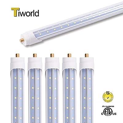 6-Pack ETL Listed 6FT Led Tube Light, 40W Natural White 4000k, FA8 Single Pin Base Clear Cover, V-Shape, 6 Foot Ballast Bypass Tube Light Fluroscent Replacement