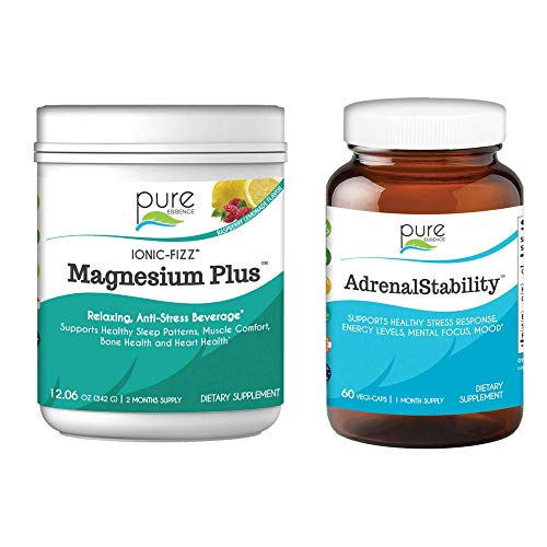 Pure Essence Labs Ionic Fizz Magnesium Plus + Adrenal Stability Bundle | Sleep Aid / Natural Anti-Stress Powder - Raspberry Lemonade | Health Support Cortisol Management Supplement | Two Month Supply