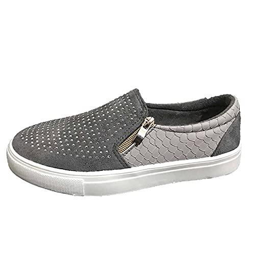 Womens Slip On Flat Scarpe Casual Moda Comfort Formatori Plus Size Zip Paillettes Borchie Scarpe di Tela Plus Size Chiudere Punta Bassa Scarpe Zapatos para Mujer, grigio, 40 EU