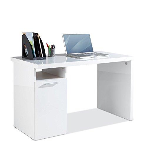 Schreibtisch Computertisch Arbeitstisch | Weiß Hochglanz