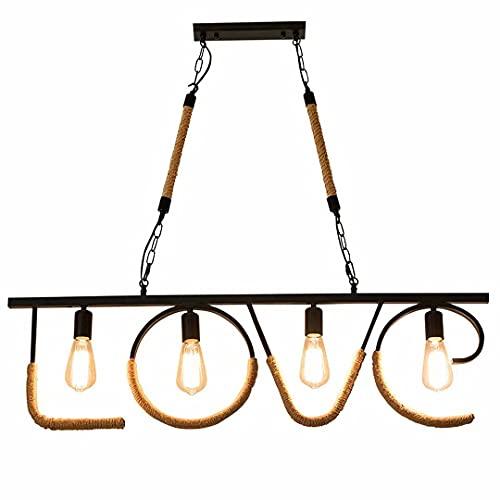 N\C Lámpara de Letra de Estilo Industrial, lámpara de araña de Cuerda de cáñamo con Personalidad, cafetería, Restaurante, Hotel, lámpara Colgante E27, lámparas de...