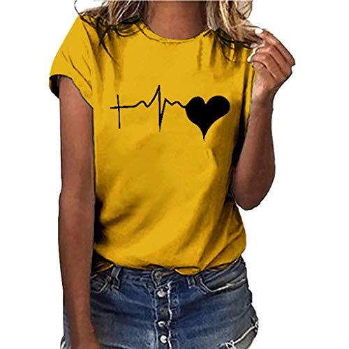 Dicomi Donna Maniche Corte Vintage Magliette estive Ragazza t Shirt Donna Maglietta Stampata a Maniche Corte Cuore a Maniche Corte da Donna