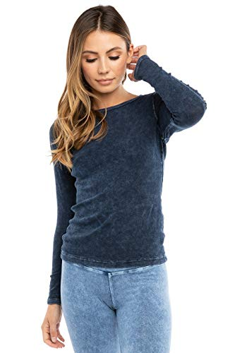 Hard Tail Forever Women's Long Sleeve Cotton Crewneck T-Shirt Style T-185 (M, Dark Denim)