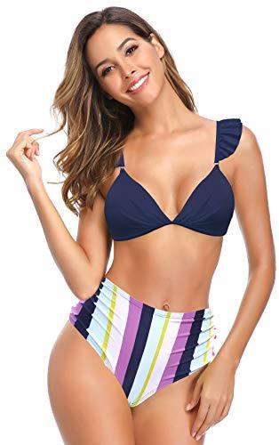 SHEKINI Damen Brasilianisches Bikini-Set Rüschen Push Up Badeanzug mit Hoher Taille Bedruckte Bikinihosen V-Ausschnitt Badeanzug