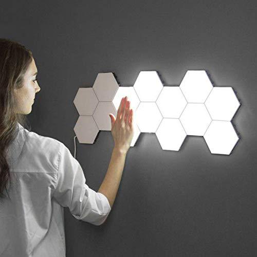 Luz hexagonal de controle remoto, montagem inteligente de parede sensível ao toque, montagem geométrica, modular, montada, RGB/branco LED colorido com USB-Power, usada no quarto, decoração de sala de estar (pacote com 6)