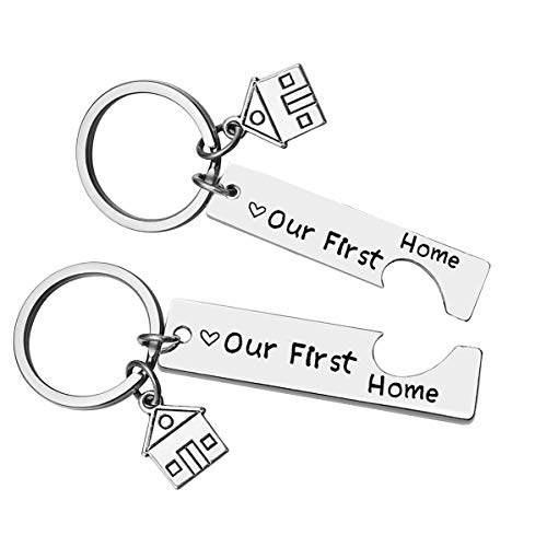 Our First Home Keychains for New Home Keychain Housewarming Gift for New Homeowner House Keyring Moving in Key Chain for New Home Owners Jewelry Realtor Closing Gifts (2 Pack)