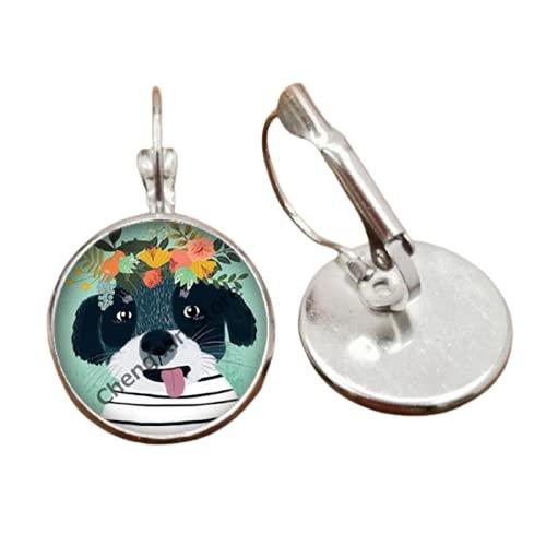Animal redondo cristal mascota perro gato lobo zorro imagen con flor corona convexa pendientes de cristal redondos