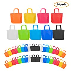 MATERIAL: These party bags is non woven fabric material, lightweight and durable. DIMENSIONS: Suitable use size- 10 x 13 inch (26x33cm), 36 Pack a set. COLORS: 9 various beautiful colors for your choose, sky blue, sapphire blue, green, rose red, red,...