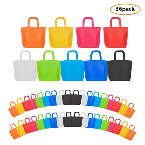 Party Tote Bags, 36 Pcs Non Woven Party Gift Favor Bag with Handles, 10 x13 Inch, 9 Colors