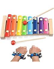 SIMUER Xilófono Juguetes,Musicales Xilófono de Madera Infantil Instrumento Musical para Niños Bebé Instrumento Musical de Percusión Mejor día Cumpleaños Regalo con 2Pcs Band Wrist Bells