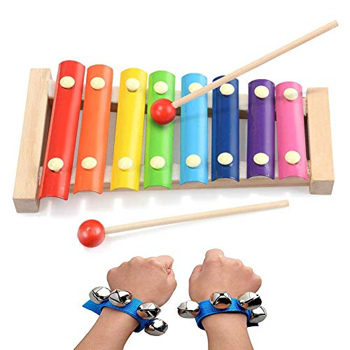 SIMUER Xylophon Musikinstrument Baby, Glockenspiel Percussion Musikinstrument für Kleinkinder mit Bunten Metalltasten und Zwei Hölzernen Schlägeln und Holzkiste Präsentiert Baby