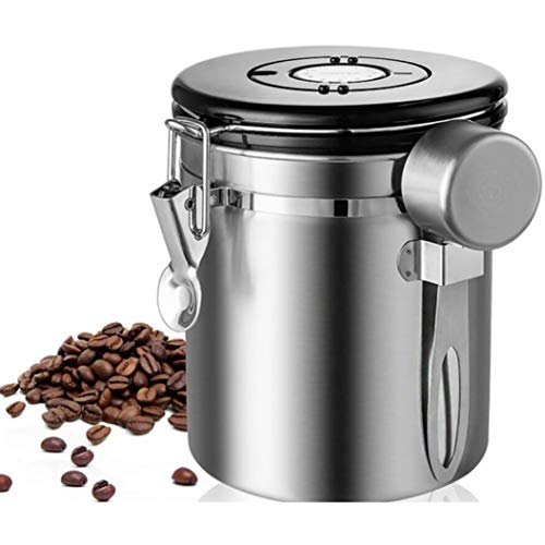 Stainless Steel Container - Canister with Co2 Valve and Scoop,1.5L Stainless Steel Coffee Canister With Scoop Airtight Coffee Container Storage Canister Set For Coffee Beans Tea