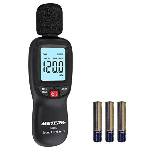 Schallpegelmesser Meterk Schallpegel Messgerät Messung Range 30-130dB schnell reagierend großer LCD-Bildschrim mit Hinterbeleuchtung